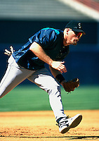 Jay Buhner of the Seattle Mariners during a game at Anaheim Stadium in Anaheim, California during the 1997 season.(Larry Goren/Four Seam Images)