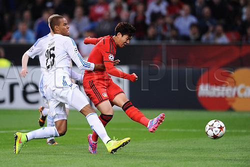 27.08.2014. Leverkusen, Germany. UEFA Champions League qualification match. Bayer Leverkusen versus FC Copenhagen. Goal for 1:0 from Son Heung-Min ( Leverkusen
