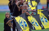 Flag-bearers during the Super Rugby match between the Hurricanes and Sharks at Sky Stadium in Wellington, New Zealand on Saturday, 15 February 2020. Photo: Dave Lintott / lintottphoto.co.nz