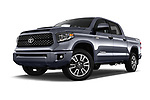 Stock pictures of low aggressive front three quarter view of a 2018 Toyota Tundra TRD Sport Crew 4 Door Pick Up