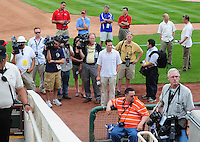 Jun. 23, 2009; Albuquerque, NM, USA; Members of the media await the arrival of Albuquerque Isotopes outfielder Manny Ramirez prior to the game against the Nashville Sounds at Isotopes Stadium. Ramirez is playing in the minor leagues while suspended for violating major league baseballs drug policy. Mandatory Credit: Mark J. Rebilas-