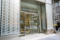 A branch of Signature Bank in New York on Thursday, February 25, 2016. The bank is being sued in Florida by a group of investors which accuses the institution of helping a now convicted money manager in a Ponzi scheme shifting funds from one account to another. The money manager, William Landberg and his firm West End Financial Advisors filed for bankruptcy in 2011. The investors have not recovered their funds. (© Richard B. Levine)