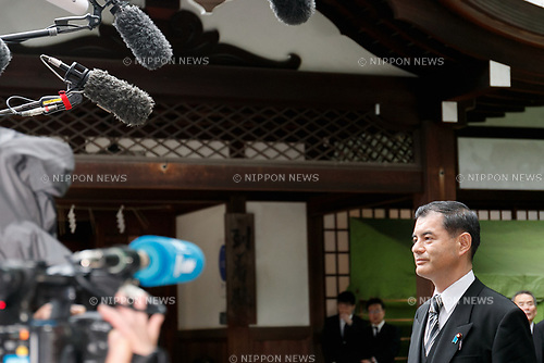 Japanese politician Masahiko Shibayama answers questions from the press at Yasukuni Shrine on the 72nd anniversary of Japan's surrender in World War II on August 15, 2017, Tokyo, Japan. Prime Minister Shinzo Abe was not among the lawmakers to visit the Shrine and instead sent a ritual offering to avoid angering neighboring countries who also associate Yasukuni with war criminals and Japan's imperial past. (Photo by Rodrigo Reyes Marin/AFLO)
