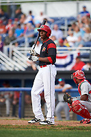 Batavia Muckdogs center fielder Thomas Jones (49) at bat during a game against the Auburn Doubledays on June 19, 2017 at Dwyer Stadium in Batavia, New York.  Batavia defeated Auburn 8-2 in both teams opening game of the season.  (Mike Janes/Four Seam Images)