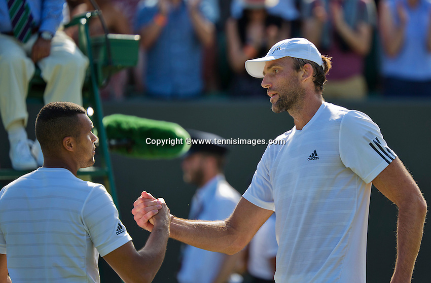 England, London, Juli 04, 2015, Tennis, Wimbledon, Ivo Karlovic (CRO) (R) is congratulated by Jo-Wilfried Tsonga (FRA)<br /> Photo: Tennisimages/Henk Koster