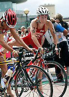 30 JUL 2006 - SALFORD, UK - Liz Blatchford leaves T1 during the ITU World Cup round at Salford. (PHOTO (C) NIGEL FARROW)