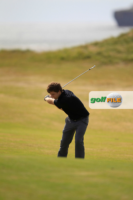 Shaun O'Connor (Luttrellstown) on the 12th fairway during the South of Ireland Amateur Open Championship 4th Round at Lahinch Golf Club  29th July 2013 <br /> Picture:  Thos Caffrey / www.golffile.ie