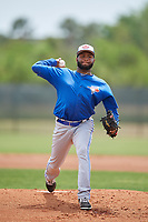 Toronto Blue Jays pitcher Yennsy Diaz (13) during a Minor League Spring Training game against the Philadelphia Phillies on March 30, 2018 at Carpenter Complex in Clearwater, Florida.  (Mike Janes/Four Seam Images)