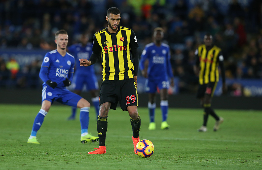 Watford's Etienne Capoue <br /> <br /> Photographer Stephen White/CameraSport<br /> <br /> The Premier League - Leicester City v Watford - Saturday 1st December 2018 - King Power Stadium - Leicester<br /> <br /> World Copyright © 2018 CameraSport. All rights reserved. 43 Linden Ave. Countesthorpe. Leicester. England. LE8 5PG - Tel: +44 (0) 116 277 4147 - admin@camerasport.com - www.camerasport.com
