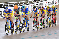 CALI – COLOMBIA – 15-02-2017: Equipo de Francia, durante entreno en el Velodromo Alcides Nieto Patiño, sede de la Copa Mundo UCI de Pista de Cali 2017. / Team from France, during a training sesión at the Alcides Nieto Patiño Velodrome, home of the Cali Track World Cup 2017 UCI. Photo: VizzorImage / Luis Ramirez / Staff.