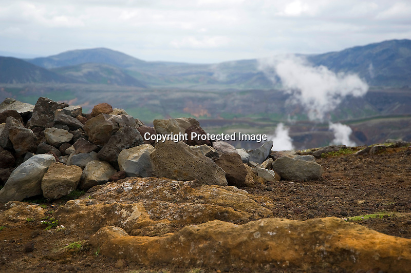 Mountains and Steam and Lava near Thingvallavatn Lake in South Iceland