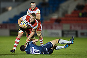 29th September 2017, AJ Bell Stadium, Salford, England; Aviva Premiership Rugby, Sale Sharks versus Gloucester; Gloucester Rugby's Ruan Ackermann is tackled by Sale Sharks' AJ MacGinty