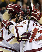 Benn Ferriero (Boston College - Essex, MA), Joe Rooney (Boston College - Canton, MA) and Mike Brennan (Boston College - Smithtown, NY) celebrate Ferriero's goal which tied the game at 1. The Boston College Eagles defeated the Harvard University Crimson 3-1 in the first round of the 2007 Beanpot Tournament on Monday, February 5, 2007, at the TD Banknorth Garden in Boston, Massachusetts.  The first Beanpot Tournament was played in December 1952 with the scheduling moved to the first two Mondays of February in its sixth year.  The tournament is played between Boston College, Boston University, Harvard University and Northeastern University with the first round matchups alternating each year.