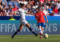 PARIS,  - JUNE 16: Carli Lloyd #10 defends Rosario Balmaceda #21 during a game between Chile and USWNT at Parc des Princes on June 16, 2019 in Paris, France.