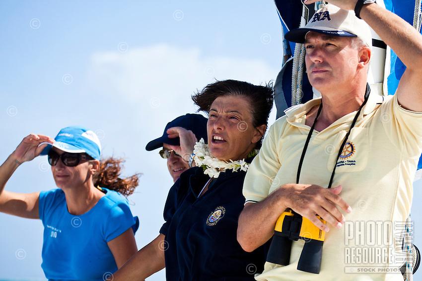 Spectators at Tahiti Pearl Regatta sailboat race