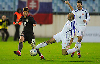 Robbie Rogers battles for the ball. Slovakia defeated the US Men's National Team 1-0 at the Tehelne Pole in Bratislava, Slovakia on November 14th, 2009.