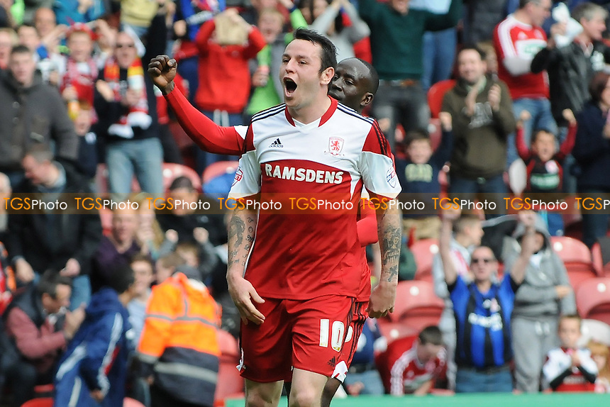 Lee Tomlin of Middlesbrough celebrates scoring the equaliser - Middlesbrough vs Barnsley - Sky Bet Championship Football at the Riverside Stadium, Middlesbrough - 26/04/14 - MANDATORY CREDIT: Steven White/TGSPHOTO - Self billing applies where appropriate - 0845 094 6026 - contact@tgsphoto.co.uk - NO UNPAID USE