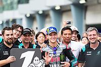 2nd November 2019; Sepang Circuit, Sepang Malaysia; MotoGP Malaysia, Qualifying Day;  The number 20 Petronas Yamaha SRT rider Fabio Quartararo after qualifying first - Editorial Use