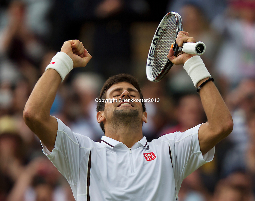 03-07-13, England, London,  AELTC, Wimbledon, Tennis, Wimbledon 2013, Day nine, Novak Djokovic (SRB) in jubilation after defeating Berdych in the quarterfinal<br /> <br /> <br /> <br /> Photo: Henk Koster
