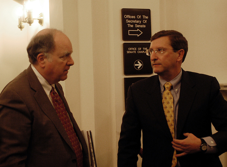 Rep. John Spratt, D-SC, and Sen. Kent Conrad, D-ND, before a press conference today discussing the Democrat's reponse to the President's FY 2005 budget.