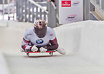 9 January 2016: Dave Greszczyszyn, competing for Canada, crosses the finish line on his second run of the day during the BMW IBSF World Cup Skeleton Championships at the Olympic Sports Track in Lake Placid, New York, USA. Greszczyszyn ended the day with a combined 2-run time of 1:50.83 and a 10th place overall finish. Mandatory Credit: Ed Wolfstein Photo *** RAW (NEF) Image File Available ***