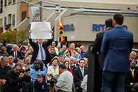 A man protest against NJ's governor Chris Christie while he visits the Jersey shore's reconstruction, marking the second anniversary of Sandy storm in New Jersey. 10.29.2014. Eduardo MunozAlvarez/VIEWpress