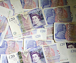 £20 sterling pound notes from above, UK