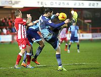 Joe Jacobson of Wycombe Wanderers clears <br /> during the Sky Bet League 2 match between Accrington Stanley and Wycombe Wanderers at the wham stadium, Accrington, England on 28 February 2017. Photo by Tony  KIPAX.