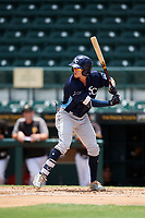 Charlotte Stone Crabs left fielder Miles Mastrobuoni (5) at bat during a game against the Bradenton Marauders on June 3, 2018 at LECOM Park in Bradenton, Florida.  Charlotte defeated Bradenton 10-1.  (Mike Janes/Four Seam Images)