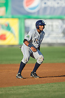 Rafelin Lorenzo (8) of the Princeton Rays takes his lead off of second base against the Burlington Royals at Burlington Athletic Stadium on June 24, 2016 in Burlington, North Carolina.  The Rays defeated the Royals 16-2.  (Brian Westerholt/Four Seam Images)