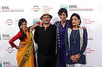 Da sinistra, l'attrice indiana Rajshri Deshpande, il regista Pan Nalin, e le attrici Anushka Manchanda e Sandhya Mridul posano durante un photocall per la presentazione del film 'Angry Indian Goddesses' al Festival Internazionale del Film di Roma, 20 ottobre 2015.<br /> Indian director Pan Nalin, second from left, poses with actresses Rajshri Deshpande, left, Anushka Manchanda, second from right, and Sandhya Mridul pose for a photocall to present the movie 'Angry Indian Goddesses'' during the international Rome Film Festival at Rome's Auditorium, 20 October 2015 .<br /> UPDATE IMAGES PRESS/Isabella Bonotto