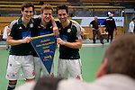 GER - Luebeck, Germany, February 07: Players of HTC Uhlenhorst Muehlheim pose with the Blauer Wimpel after winning the Deutsche Meisterschaft during the prize giving ceremony at the Final 4 on February 7, 2016 at Hansehalle Luebeck in Luebeck, Germany. (Photo by Dirk Markgraf / www.265-images.com) *** Local caption *** (L-R) Jan Nitschke #19 of HTC Uhlenhorst Muehlheim, Ferdinand Weinke #4 of HTC Uhlenhorst Muehlheim, Lukas Windfeder #6 of HTC Uhlenhorst Muehlheim