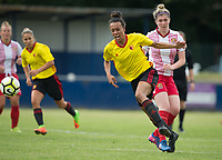 Natalie Murray of Watford Ladies is fouled by Danielle Maloney of Stevenage Ladies during the pre season friendly match between Stevenage Ladies FC and Watford Ladies at The County Ground, Letchworth Garden City, England on 16 July 2017. Photo by Andy Rowland / PRiME Media Images.