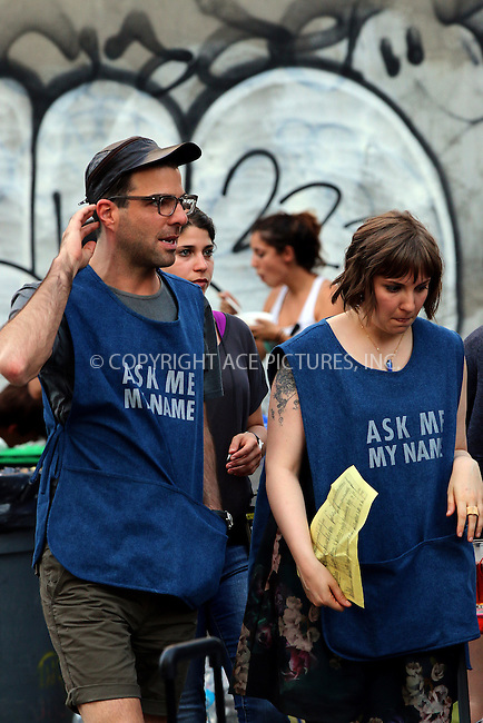 ACEPIXS.COM<br /> <br /> June 18 2014, New York City<br /> <br /> Actors Zachary Quinto and Lena Dunham were on the set of the TV show 'Girls' on June 18 2014 in New York City<br /> <br /> <br /> By Line: Zelig Shaul/ACE Pictures<br /> <br /> ACE Pictures, Inc.<br /> www.acepixs.com<br /> Email: info@acepixs.com<br /> Tel: 646 769 0430