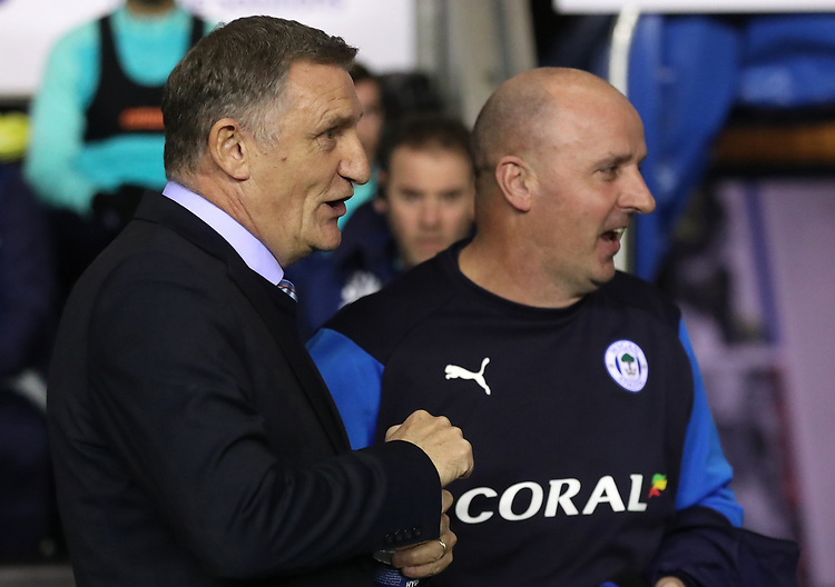 Blackburn Rovers manager Tony Mowbray and Wigan Athletic manager Paul Cook <br /> <br /> Photographer Rachel Holborn/CameraSport<br /> <br /> The EFL Sky Bet Championship - Wigan Athletic v Blackburn Rovers - Wednesday 28th November 2018 - DW Stadium - Wigan<br /> <br /> World Copyright © 2018 CameraSport. All rights reserved. 43 Linden Ave. Countesthorpe. Leicester. England. LE8 5PG - Tel: +44 (0) 116 277 4147 - admin@camerasport.com - www.camerasport.com