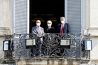The secretaries of the Trade Unions, Carmelo Barbagallo, secretary of UIL, Annamaria Furlan, secretary of CISL and Maurizio Landini, secretary  of CGIL, from the balcony of the Casina del buon respiro, inside Villa Pamphilj, where the Italian Premier convened the States General of Economy. The summit was strictly behind closed doors and the press was kept outside. Rome (Italy), June 15th 2020<br /> <br /> <br /> <br /> Samantha Zucchi Insidefoto
