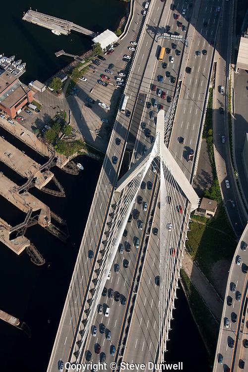 Zakim Bridge aerial view, Boston, MA