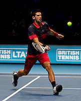 Novak Djokovic (SRB) (3) against Tomas Berdych (CZE) (6) in a Group A match. Novak Djokovic beat Tomas Berdych 6-3 6-3..International Tennis - Barclays ATP World Tour Finals - O2 Arena - London - Day 2 - Mon 22 Nov 2010..© Frey - AMN Images, Level 1, Barry House, 20-22 Worple Road, London, SW19 4DH.Tel - +44 208 947 0100.Email - Mfrey@advantagemedianet.com.Web - www.amnimages.photshelter.com