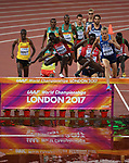 The mens 3000m steeplechase at the water jump. IAAF world athletics championships. London Olympic stadium. Queen Elizabeth Olympic park. Stratford. London. UK. 08/08/2017. ~ MANDATORY CREDIT Garry Bowden/SIPPA - NO UNAUTHORISED USE - +44 7837 394578