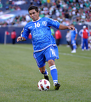 El Salvador's Jamie Alas dribbles the ball.  El Salvador defeated Cuba 6-1 at the 2011 CONCACAF Gold Cup at Soldier Field in Chicago, IL on June 12, 2011.