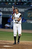 Alex Muzzi (31) of the Cal State Long Beach Dirtbags bats against the UC Santa Barbara Gauchos at Blair Field on April 1, 2016 in Long Beach, California. UC Santa Barbara defeated Cal State Long Beach, 4-3. (Larry Goren/Four Seam Images)