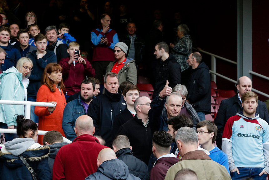 Burnley fans filing out of the ground at the end of the match<br /> <br /> Photographer Craig Mercer/CameraSport<br /> <br /> Football - Barclays Premiership - West Ham United v Burnley - Saturday 2nd May 2015 - Boleyn Ground - London<br /> <br /> &copy; CameraSport - 43 Linden Ave. Countesthorpe. Leicester. England. LE8 5PG - Tel: +44 (0) 116 277 4147 - admin@camerasport.com - www.camerasport.com