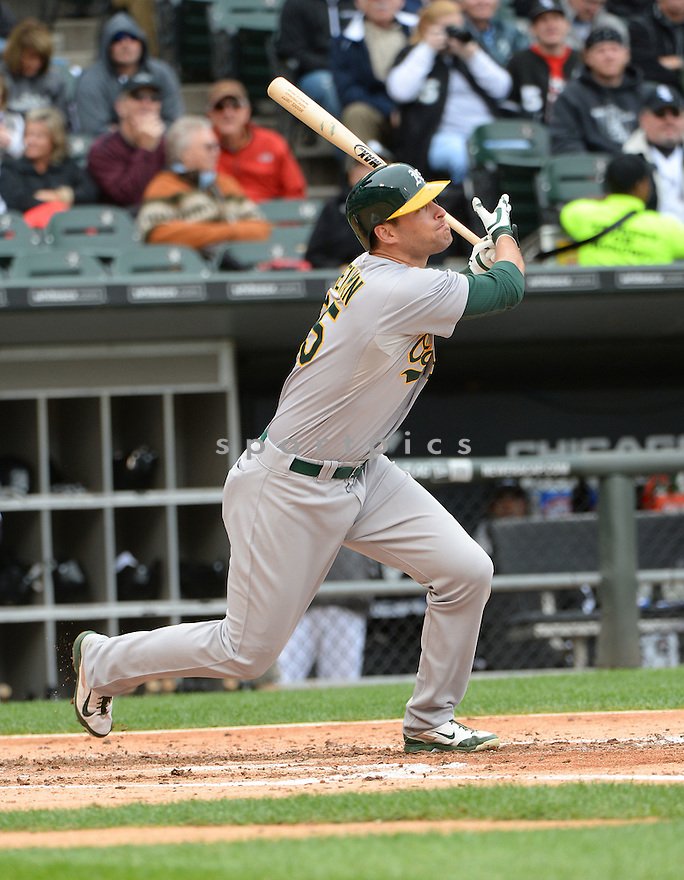 Oakland A's Nate Freiman (35) during a game against the Chicago White Sox on September 11, 2014 at US Cellular Field in Chicago, IL. The Sox beat the A's 1-0.