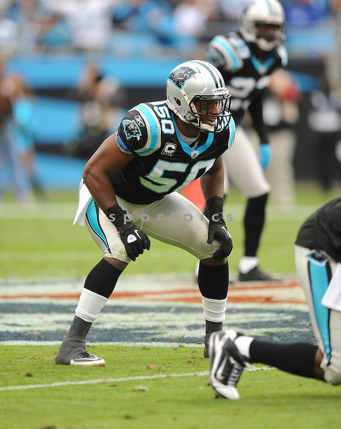 JAMES ANDERSON, of the Carolina Panthers, in action during the Panthers game against the Tennessee Titans on November 13, 2011 at Bank of America Stadium in Charlotte, NC. The Titans beat the Panthers 30-3.