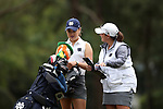 WILMINGTON, NC - OCTOBER 28: Notre Dame's Emma Albrecht on the 13th tee with assistant coach Kyle Lynne Demeter (right). The second round of the Landfall Tradition Women's Golf Tournament was held on October 28, 2017 at the Pete Dye Course at the Country Club of Landfall in Wilmington, NC.