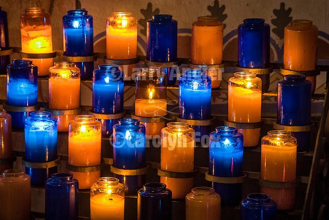 Votive candles in the chapel, Mission San Antonio de Padua, California.