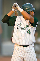 Shortstop Juan Lagares (4) of the Savannah Sand Gnats at bat at Grayson Stadium in Savannah, GA, Wednesday August 6, 2008  (Photo by Brian Westerholt / Four Seam Images)