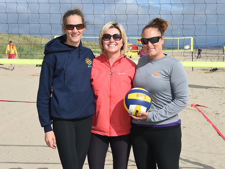 Cllr Sharon Tolan with Marie-Claire Sabogal Secretary and Miriam Gormally President from Beach Volleyball Ireland at the launch of the volleyball competitions on Bettystown beach. Photo:Colin Bell/pressphotos.ie