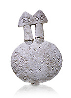 Bronze Age Anatolian two headed disk shaped alabaster Goddess figurine - 19th to 17th century BC - Kültepe Kanesh - Museum of Anatolian Civilisations, Ankara, Turkey. Against a white background.