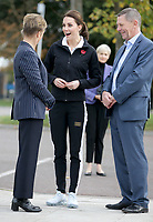 31 October 2017 - Princess Kate, Duchess of Cambridge is greeted by the President of the LTA, Martin Corrie (R), and LTA Director of Human Resources Vicky Williams as she arrives for a visit at the Lawn Tennis Association (LTA) at the National Tennis Centre in southwest London. Duchess of Cambridge visited the LTA, the national governing body of tennis, where she was briefed on the organisations latest activities and objectives, and had the opportunity to watch a number of tennis demonstrations at the National Tennis Centre's on-court facilities. Photo Credit: ALPR/AdMedia